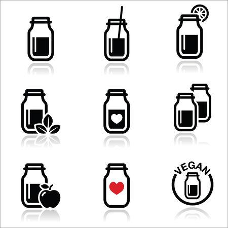 Green shake, green smoothie jar icons set  Vector