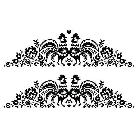 Polish floral folk art long embroidery pattern with roosters - wzory lowickie