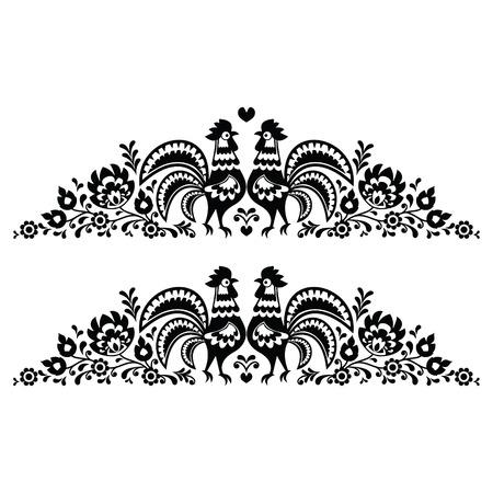 Poolse bloemen volkskunst lange borduurwerk patroon met hanen - wzory Lowickie