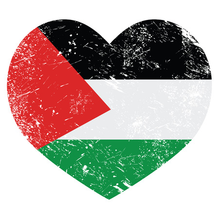 palestine: The State of Palestine retro heart shaped flag