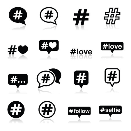 pr: Hashtag, social media icons set