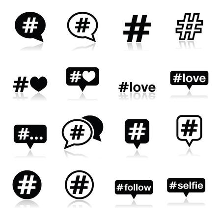 pr: Hashtag, social media icons set