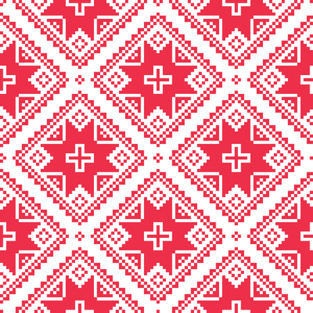 Seamless Ukrainian, Slavic folk art red embroidery pattern  Vector