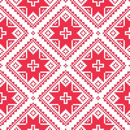 Seamless Ukrainian, Slavic folk art red embroidery pattern  Vector