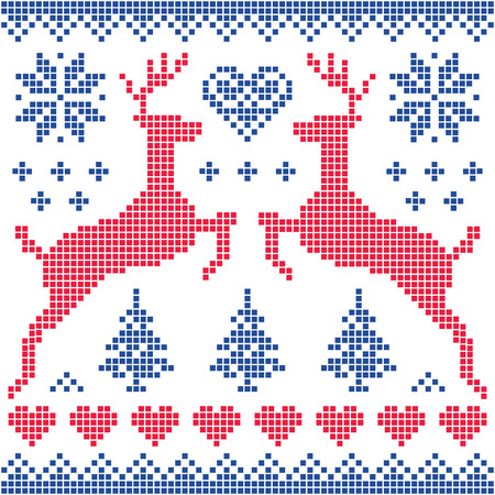 folk art: Winter, Christmas red and navy pattern card