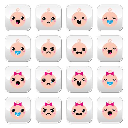 petite fille triste: Bébé garçon et fille boutons Kawaii mignon fixés Illustration