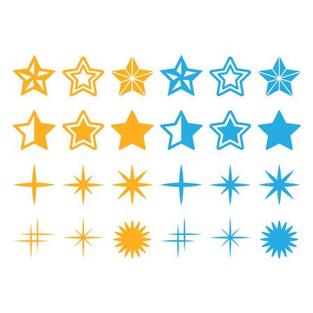 stelle blu: Stelle di colore giallo e blu stelle icone set Vettoriali