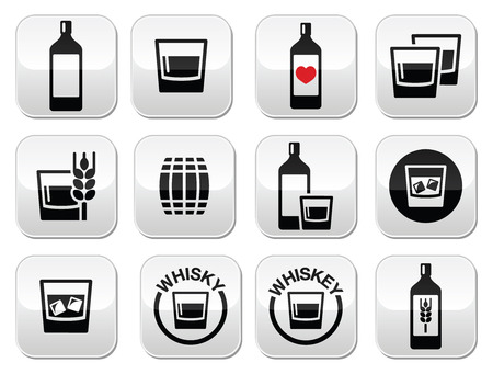 bourbon whisky: Whisky or Whiskey alcohol buttons set  Illustration