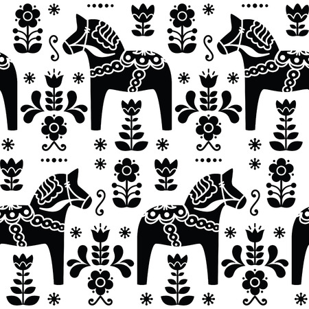 Swedish folk art Dala or Daleclarian horse seamless pattern in black