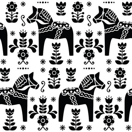Zweedse volkskunst Dala of Daleclarian paard naadloos patroon in zwart
