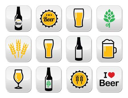 barley hop: Beer colorful vector buttons set - bottle, glass, pint