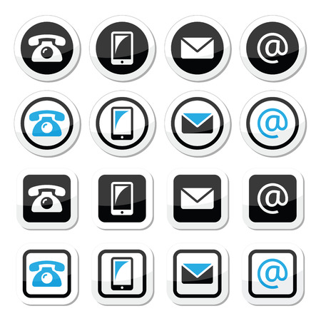 mobile phone icon: Contact labels in circle and square set - mobile, phone, email, envelope