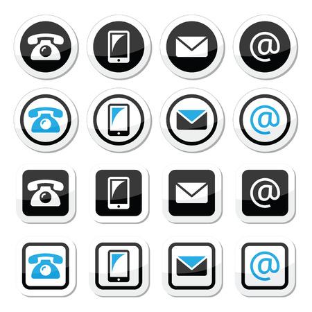 contact icon: Contact met labels in cirkel en vierkant set - mobiele, telefoon, e-mail, envelop Stock Illustratie