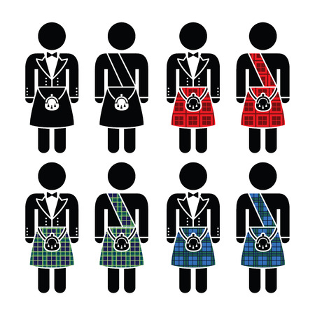 official wear: Scotsman, man wearing kilt vector icons set Illustration
