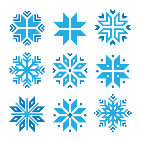 Weihnachten, Satz Winter blau Schneeflocken Vektor-Icons