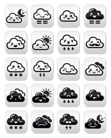 angry sky: Cute Kawaii clouds with different expressions - happy, sad, angry