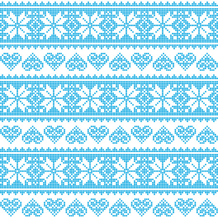Winter, Christmas seamless pixelated blue pattern with hearts Vector