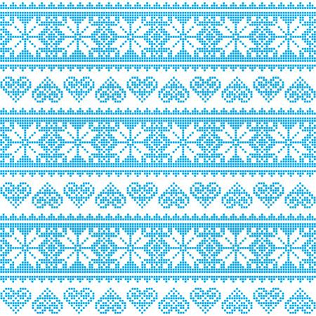 Winter, Kerst naadloze korrelig blauw patroon met hartjes