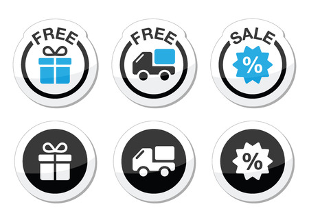 Free gift, free delivery, sale labels set Vector