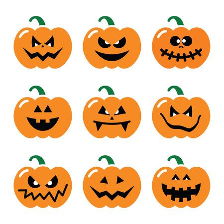 calabaza caricatura: Iconos de calabaza de Halloween conjunto
