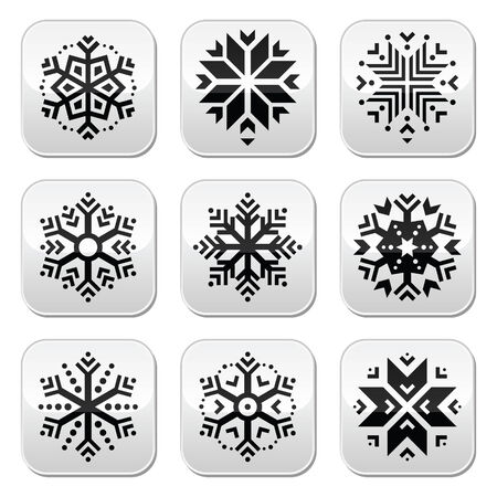 Snowflakes buttons set on black and white background  Vector