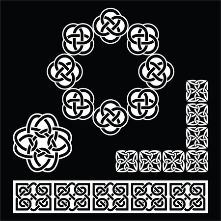 Irish Celtic patterns, knots and braids on black Vector
