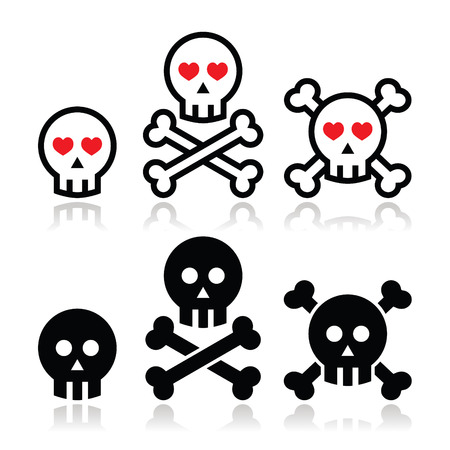 Cartoon skull with bones and hearts vector icon set Vector