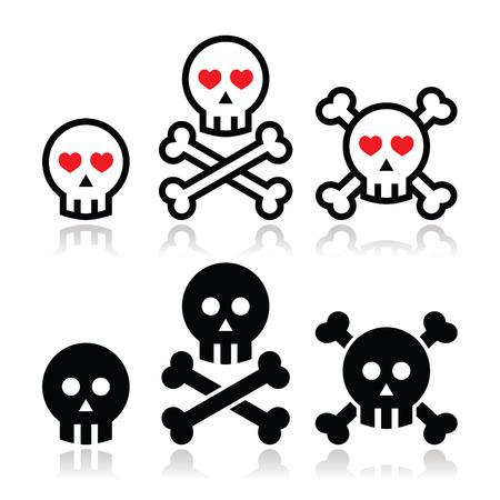 calavera caricatura: Cr�neo de la historieta con los huesos y corazones icono conjunto de vectores
