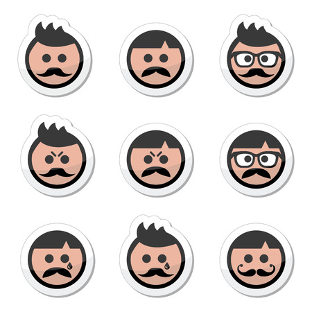 pissed off: Man with moustache or mustache, avatar vector labels set