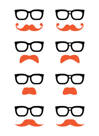 Geek glasses and ginger moustache or mustache vector icons Vector