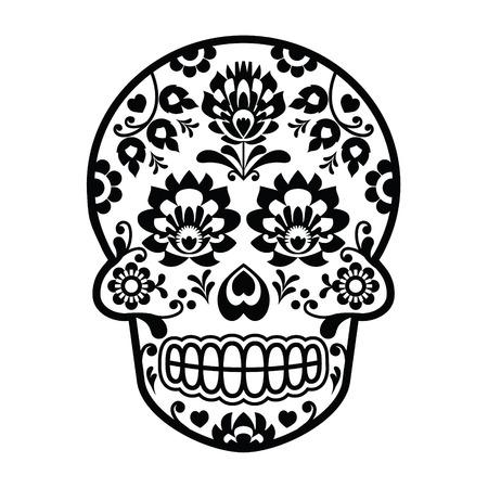 メキシコの砂糖の頭骨 - ポーランドの民俗芸術スタイル - Wzory Lowickie Wycinanka