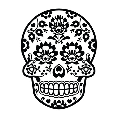 Mexicaanse suiker schedel - Poolse volkskunststijl - Wzory Lowickie, Wycinanka