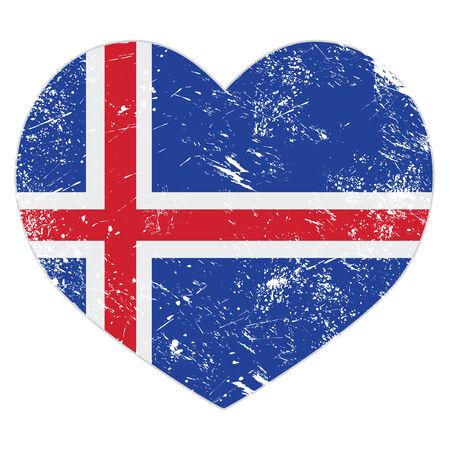 Iceland heart retro flag