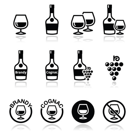 cognac: Brandy and cognac vector icons set
