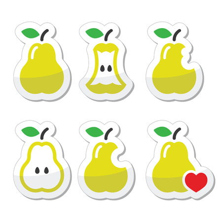 crunch: Pear, pear core, bitten, half vector icons Illustration