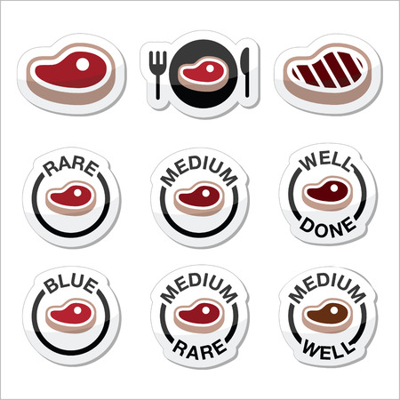 rare animals: Steak - medium, rare, well done, grilled icons set Illustration
