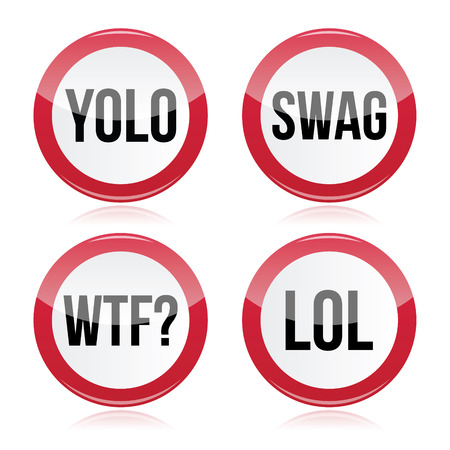 swagger: YOLO, swag, WTF, LOL vector signs