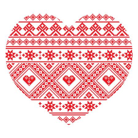 Traditional Ukrainian folk art heart knitted red embroidery pattern Illustration