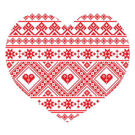 Traditional Ukrainian folk art heart knitted red embroidery pattern Иллюстрация