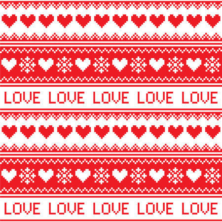 Nordic, winter love seamless red heart pattern  Ilustração