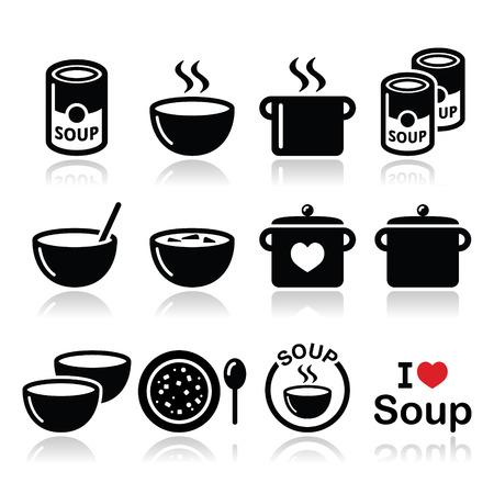 plate of food: Minestra in ciotola, pu� e pot - cibo icona set Vettoriali