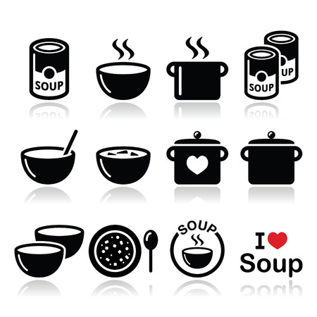 food on white: Soup in bowl, can and pot - food icon set