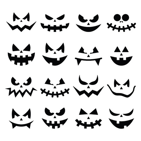 eye hole: Scary Halloween pumpkin faces icons set