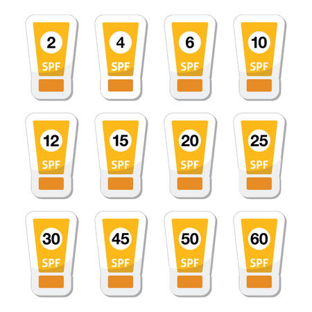 suntan lotion: Sun cream, sunblock with factor or spv icons set