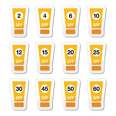 factor: Sun cream, sunblock with factor or spv icons set