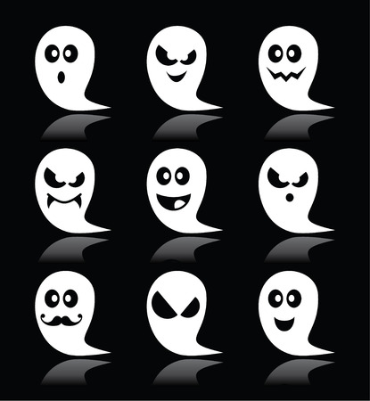 Halloween ghost icons set on black background