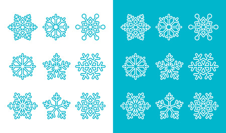 snow crystals: Snowflakes, winter blue decoration icons set Illustration