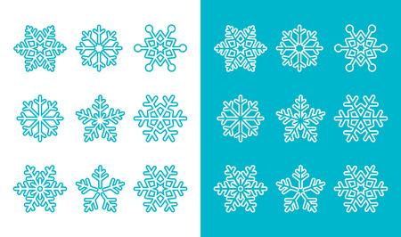 Snowflakes, winter blue decoration icons set Vector