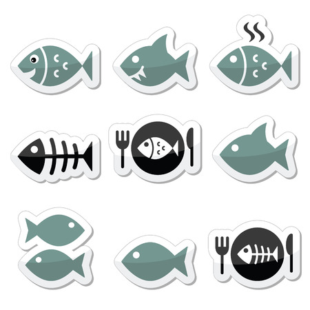 Fish, fish on plate, skeleton  Vector