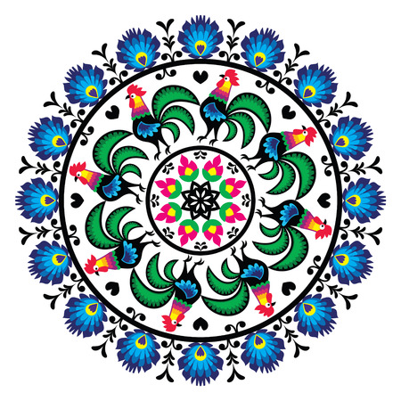 polish: Polish traditional folk art pattern in circle with roosters - Wzory Lowickie, Wycinanka